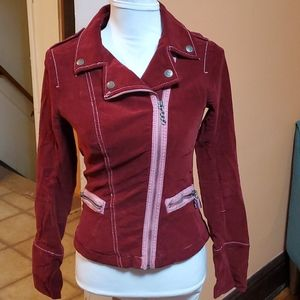 Tripp NYC Old School Burgundy Fitted Jacket
